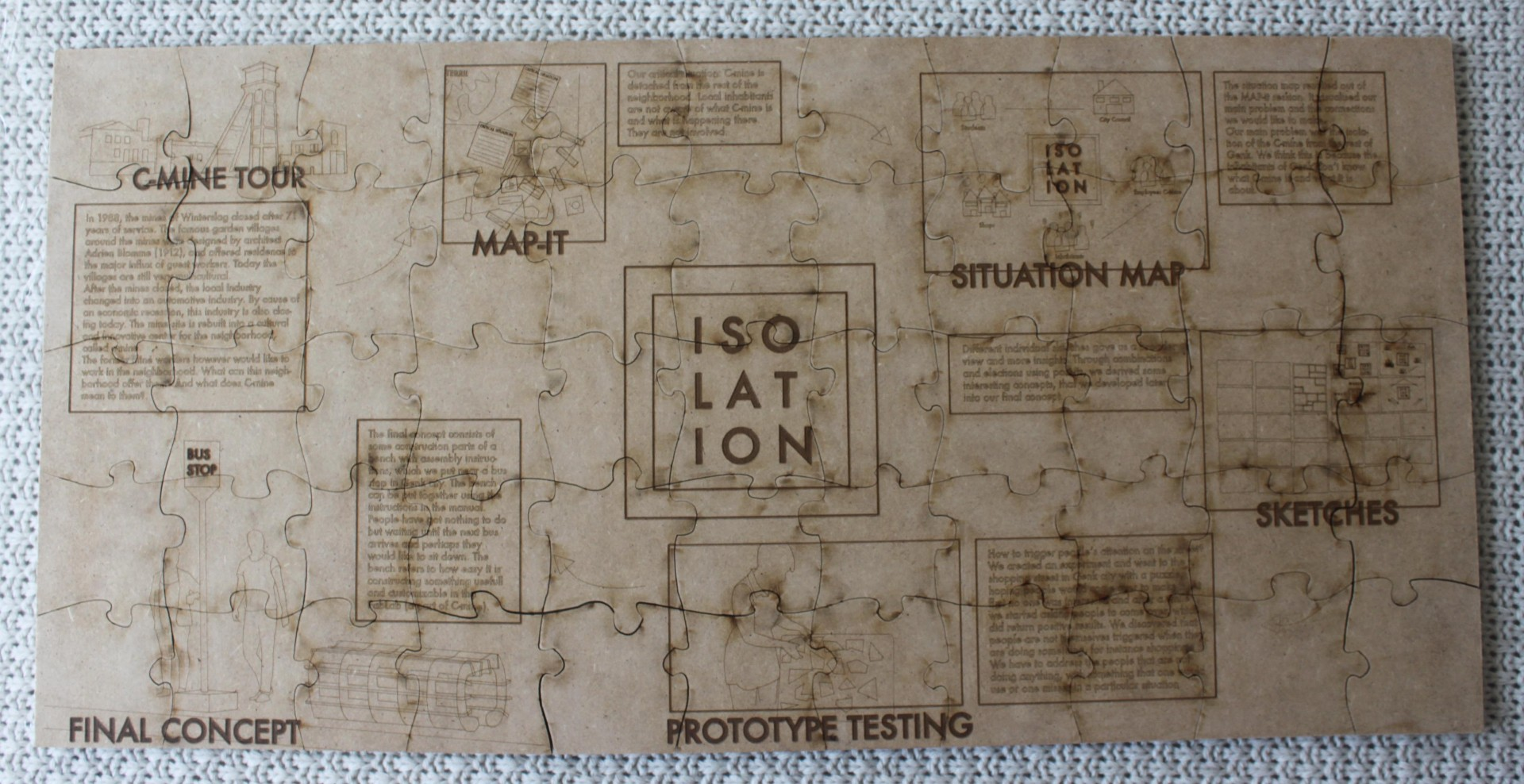 Isolation - Laser gesneden puzzel van ontwerp proces.